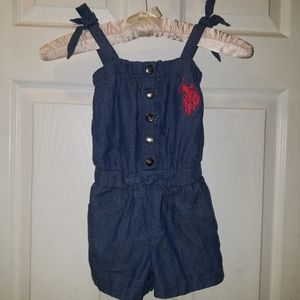U.S. Polo Assn Toddlers Denim-Look Short Romper